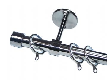 19mm Black Nickel Ceiling Curtain Pole with End Cap Finials & Lined Rings 1.2m 1. 5m 2.4m 3m